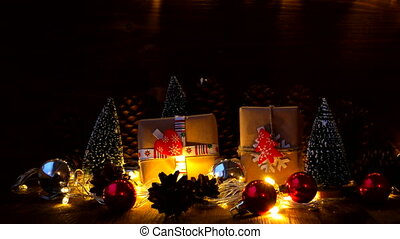 Christmas and New Year background with gifts. Presents...