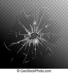 Broken Window Pane - Broken window pane with hole cracks and...