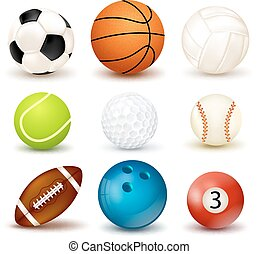 Ball Icon Set - 3d shape ball icon set with shadows isolated...