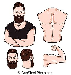 Male Body Parts For Tattoo Set - Male body parts for tattoo...