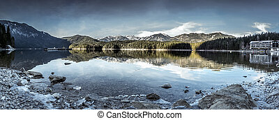Eibsee lake winter panorama - Panorama image with the lake...