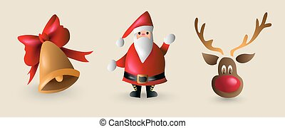 Christmas cartoon element set for decoration