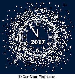 vector new year 2017 background design with a clock