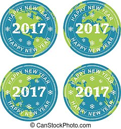 vector collection of happy new year 2017 rubber stamps on earth globes