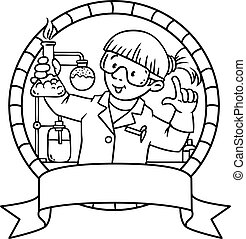 Coloring book of funny chemist. Emblem. - Coloring picture...