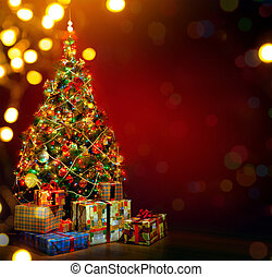 Art Christmas tree and holiday gift on red background -...
