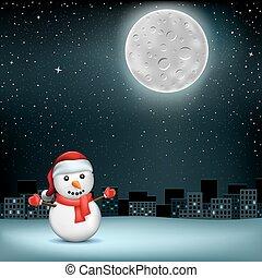 snowman stars moon sity - The snowman in Santa hat on night...