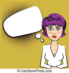 Sad beautiful woman with purple hair grey eyes style pop art...