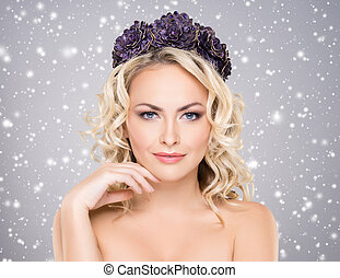 Beauty portrait of a blond girl with curly hair - Beauty...