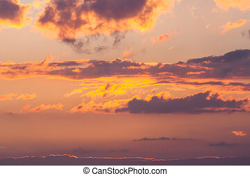 Picture of Sunset Sunrise Dramatic Sky Over Dark Ground. View From ...