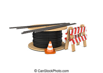 Rendering of traffic cone, fence, cable coiler and several...