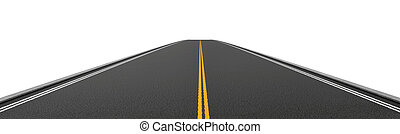 Rendering of empty two-way asphalt road going straight and...