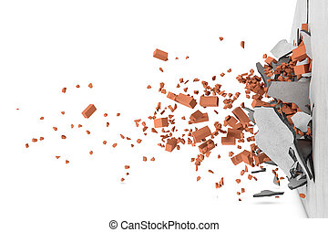 Rendering of concrete broken wall with rusty red bricks and...