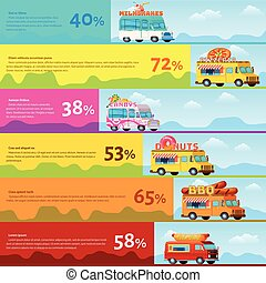 Food Truck Infographic - Colored food truck infographic with...