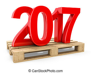 3D rendering 2017 New Year red digits worth on a pallet