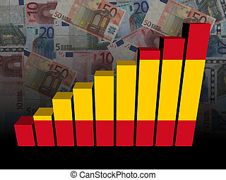 Spanish flag bar chart over euros illustration