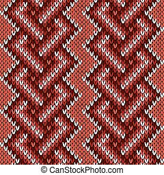 Seamless knitted interwoven pattern in warm hues - Knitted...
