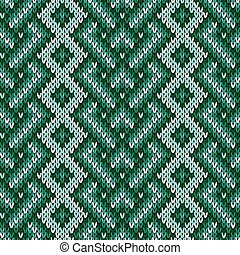 Seamless knitted interwoven pattern in green hues - Knitted...