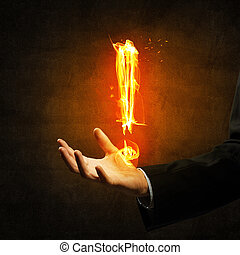 Fire exclamation mark - Glowing exclamation mark symbol in...