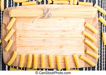 Food background with pasta and spaghetti