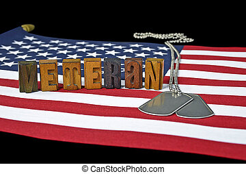 veteran dog tags on flag - military dog tags and word...