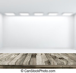 3D wooden table with defocussed empty white room in...