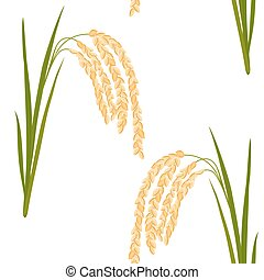 rice seamless pattern - Seamless pattern with rice. Leaves...