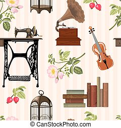 vintage objects pattern - Seamless pattern with cosy vintage...