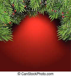 Christmas background with fir tree branches and berries