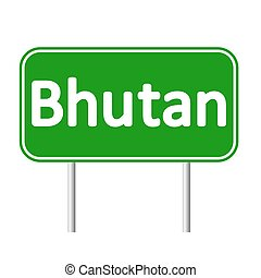 Bhutan road sign. - Bhutan road sign isolated on white...
