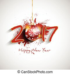 grunge happy new year bauble background - Happy New Year...
