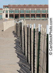 Asbury Park Beach - A view of a sand fence on the beach in...