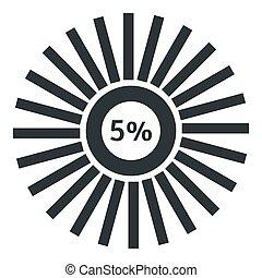 Web preloader 5 percent icon, flat style