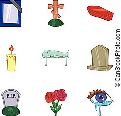 Burial icons set, cartoon style - Burial icons set. Cartoon...