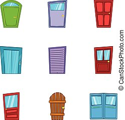 Barrier icons set, cartoon style - Barrier icons set....