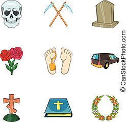 Funeral services icons set, cartoon style - Funeral services...