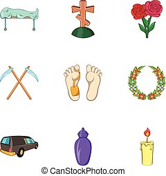 Funeral icons set, cartoon style - Funeral icons set....