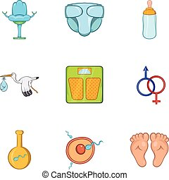 Expectant mother icons set, cartoon style - Expectant mother...