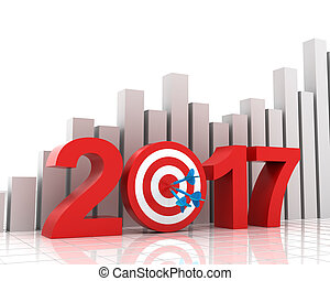 Business target for 2017 with bar chart - 2017 target with...