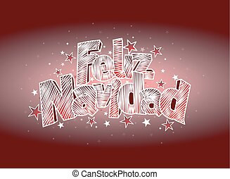 FELIZ NAVIDAD -Merry Christmas in Spanish language- Red...