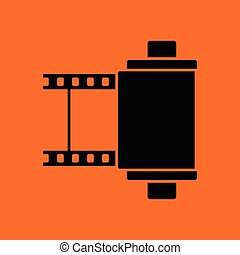 Photo cartridge reel icon. Orange background with black....