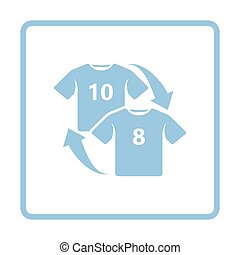 Soccer replace icon. Blue frame design. Vector illustration.