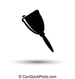School hand bell icon. White background with shadow design....