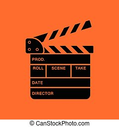 Clapperboard icon. Orange background with black. Vector...