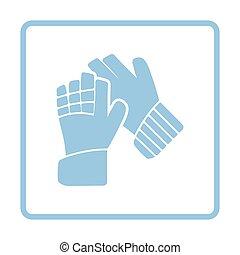 Soccer goalkeeper gloves icon. Blue frame design. Vector...