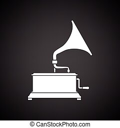 Gramophone icon. Black background with white. Vector...