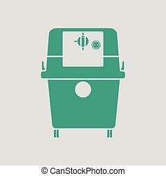 Vacuum cleaner icon. Gray background with green. Vector...