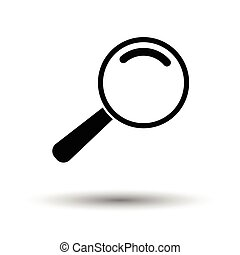 Loupe icon. White background with shadow design. Vector...
