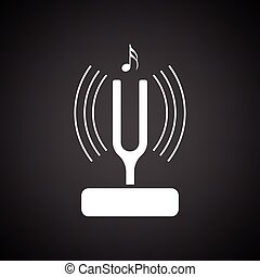 Tuning fork icon. Black background with white. Vector...