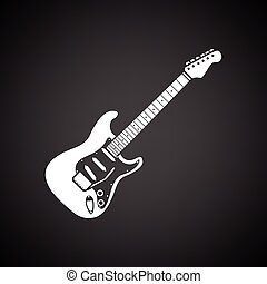 Electric guitar icon. Black background with white. Vector...